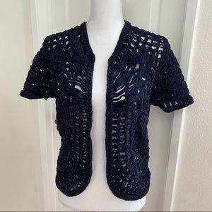 Tory Burch Navy Crochet Shrug/ Cropped Cardi Lg